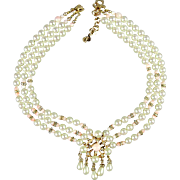 Vintage DIOR Faux Pearl Necklace w/ Real Coral - Crystal