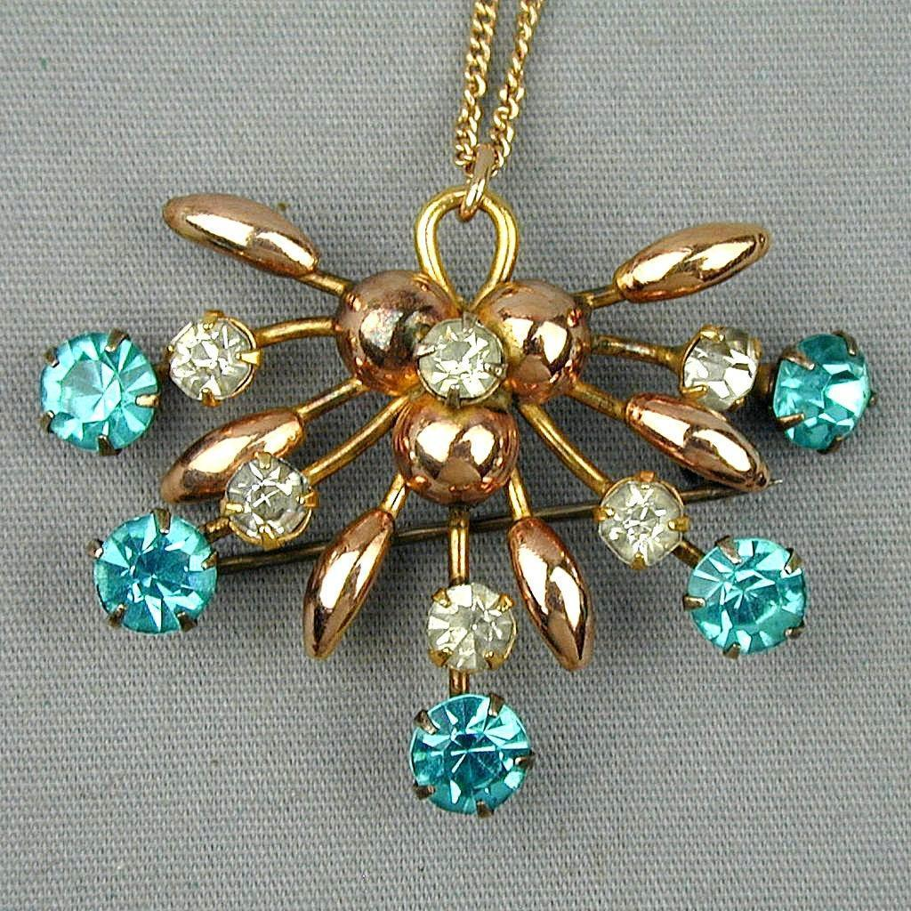 Art Deco Gold-Filled Pin - Pendant Transformer Necklace w/ Rhinestones