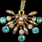 Art Deco Gold-Filled Pin - Pendant Transformer Necklace w/ Rhinestones