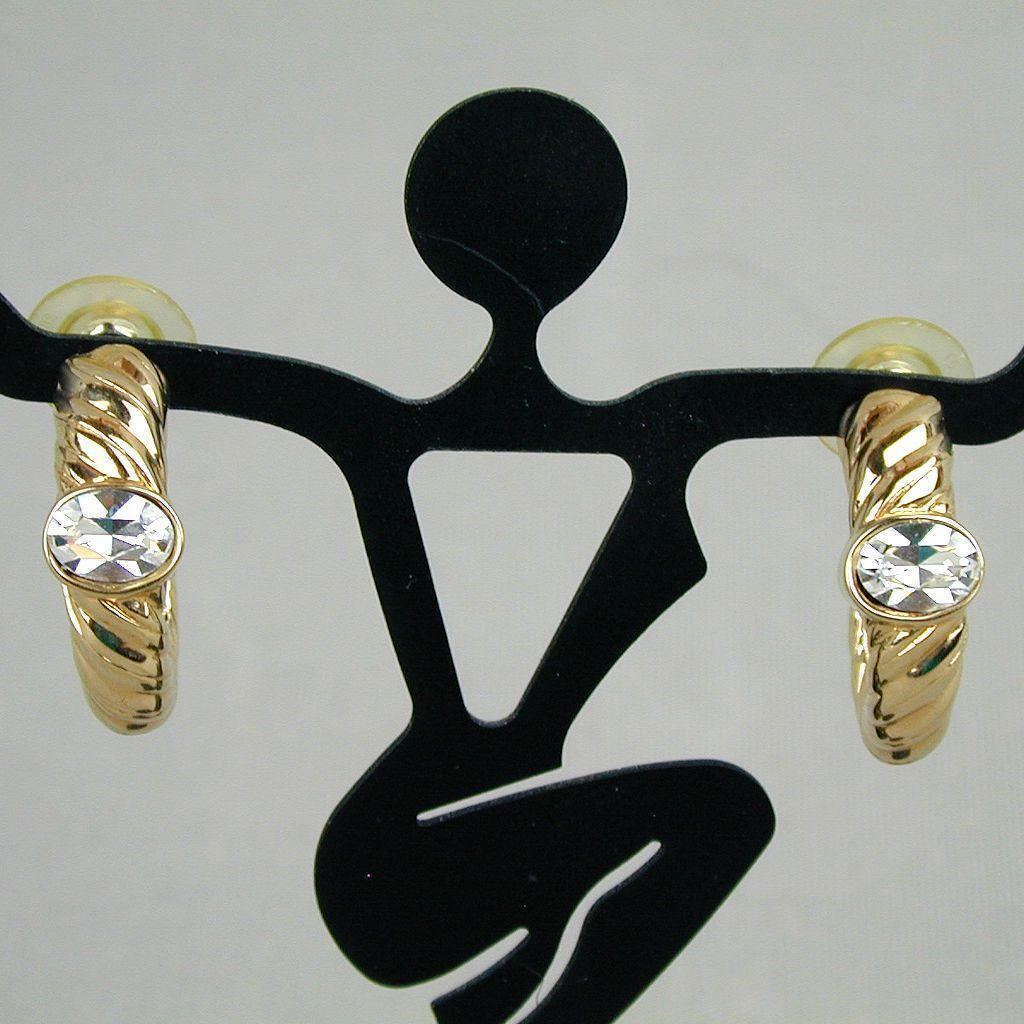 Vintage Swarovski One Crystal Hoop Earrings