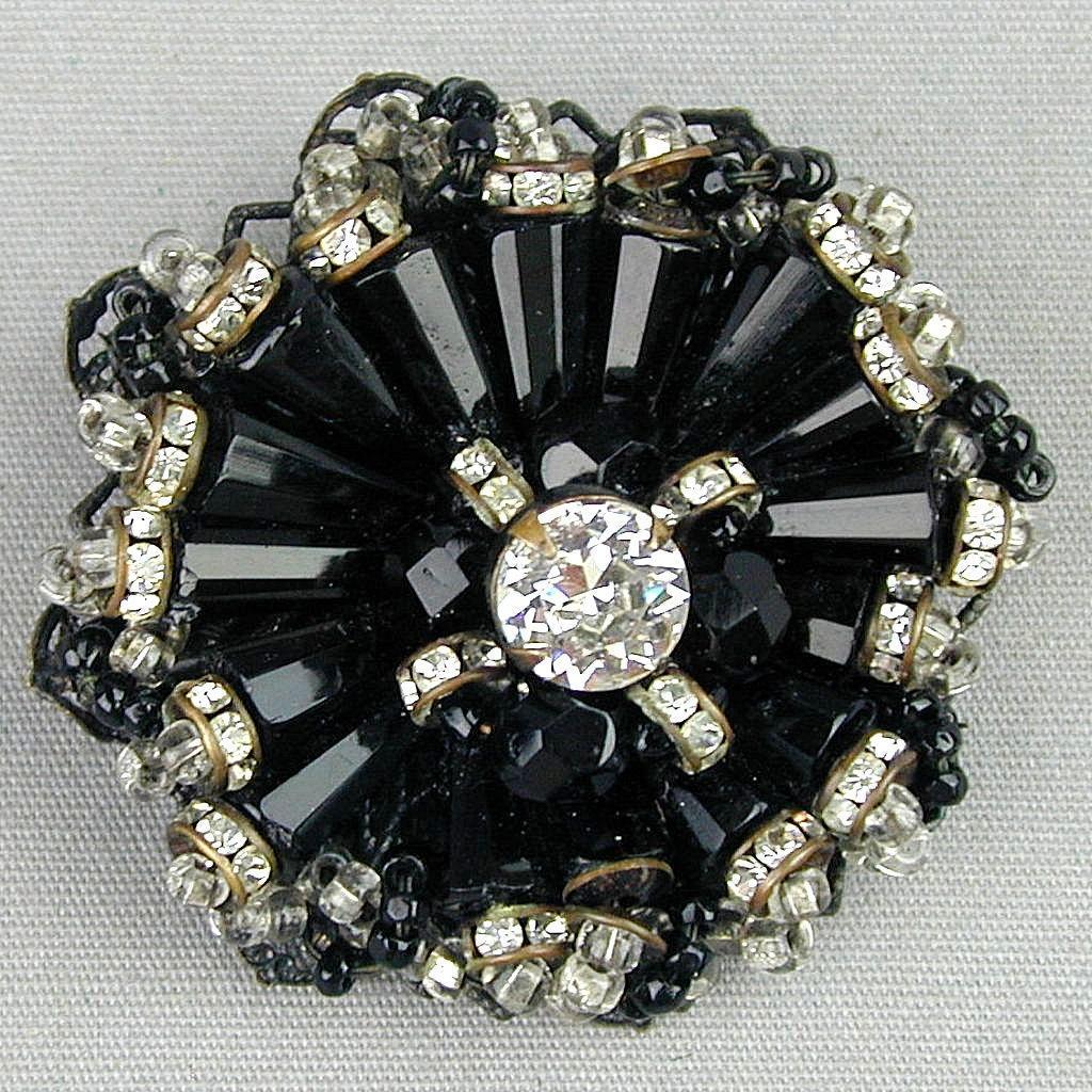 Black Vintage Miriam Haskell Pin Brooch Beads & Rhinestones