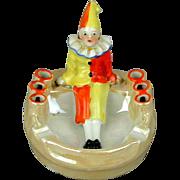 SOLD - Art Deco Era Pierrot Clown Ashtray Cig Holder Hand-Painted - Job Wanted