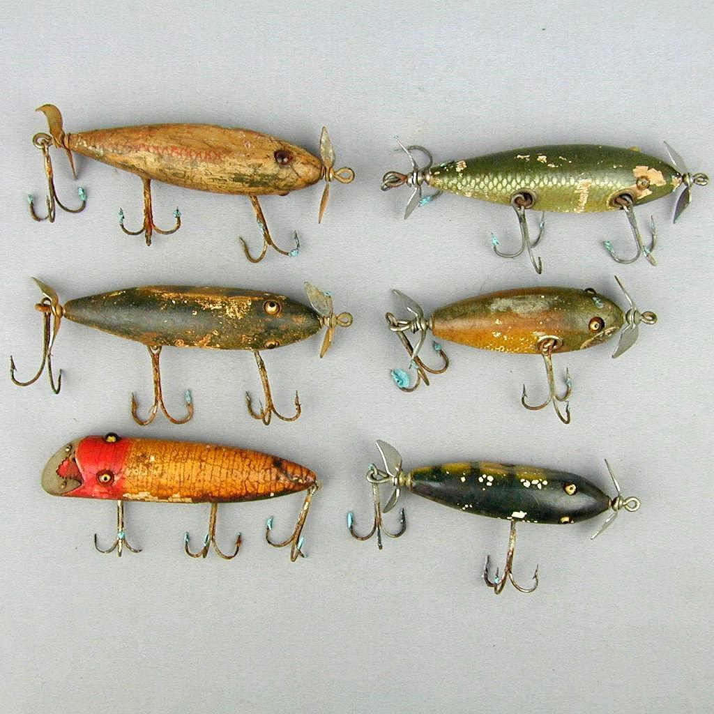 6 old wood fishing lures w glass eyes from for Wood fishing lures