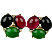 Bold Vintage CINER Faux Gems Clip Earrings