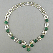 Modernist Heavy Taxco 950 Sterling Silver Necklace w/ Malachite