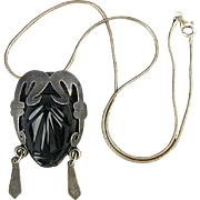 Old Taxco Carved Onyx Aztec Face in Sterling Silver Pendant / Pin