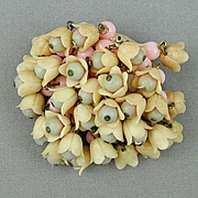 Vintage 1930s Celluloid Pin - Oodles of Flower Dangles