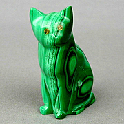 Vintage Cat Figurine - Solid Green Malachite