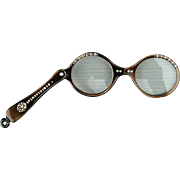 Vintage Folding Lucite Jeweled Lorgnette w/ Round Frames