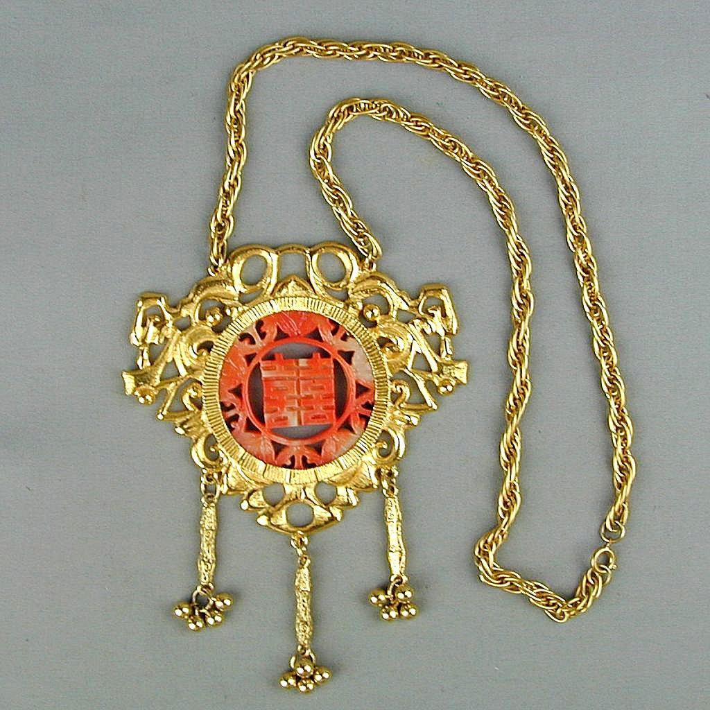 Huge 1960s Faux Chinese Coral Pendant Necklace