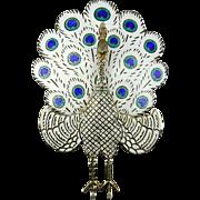 Vintage Sterling Silver Enamel Peacock Pin Figurine Siam