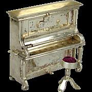 Old Dutch Silver Miniature Piano w/ Chair - Hendrik Hooijkass