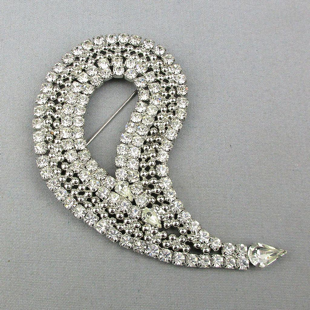 Vintage Kirk's Folly Big Crystal Rhinestone Pin Brooch