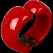 Old Red Bakelite Clamper Bracelet Art Deco Era