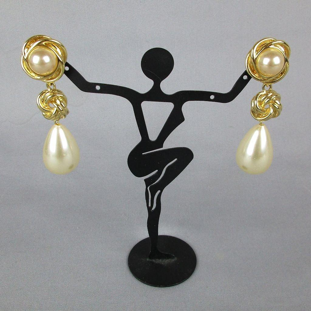 Vintage Kenneth J. Lane Faux Gold Pearl Drop Dangle Earrings KJL