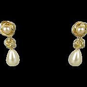Vintage Kenneth J. Lane Faux Gold Pearl Drop Dangle Earrings KJL