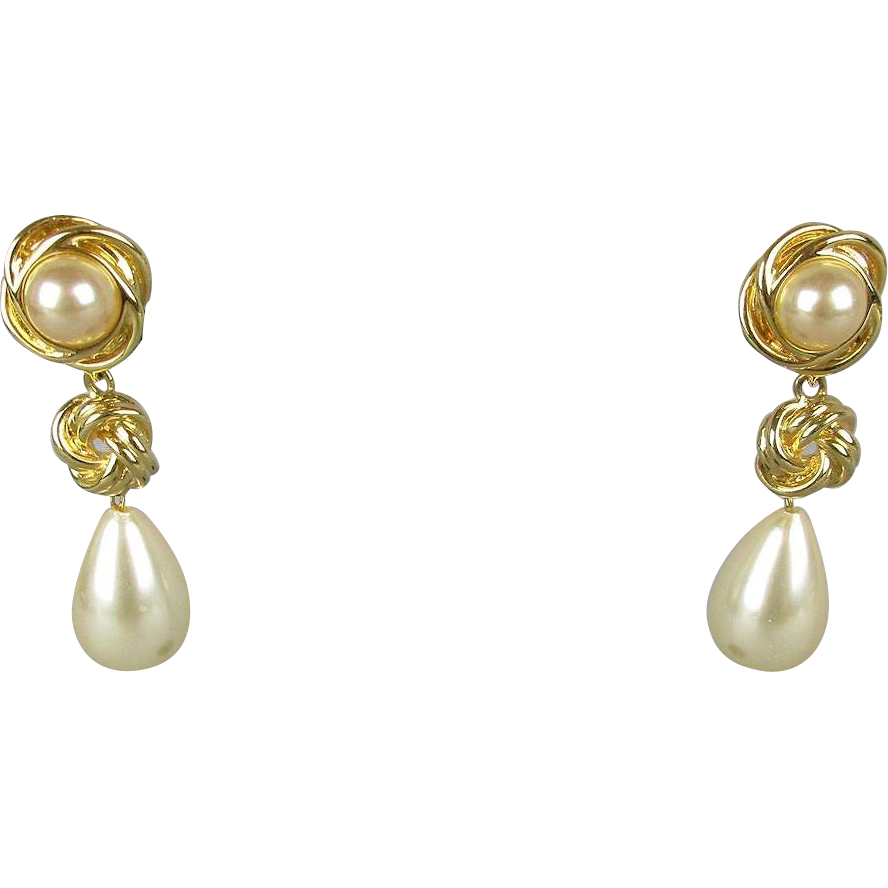vintage kenneth j faux gold pearl drop dangle