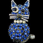 Vintage Rhinestone CAT Pin Singin' The Blues