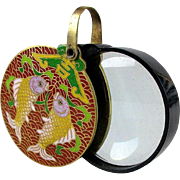 Vintage Chinese Cloisonne Enamel FISH Magnifier Paperweight