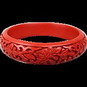 Vintage Chinese Cinnabar Bangle Bracelet Carved Floral