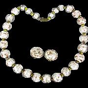 Vintage Italian Art Glass Bead Necklace Earrings Set Gold Fleck Swirl