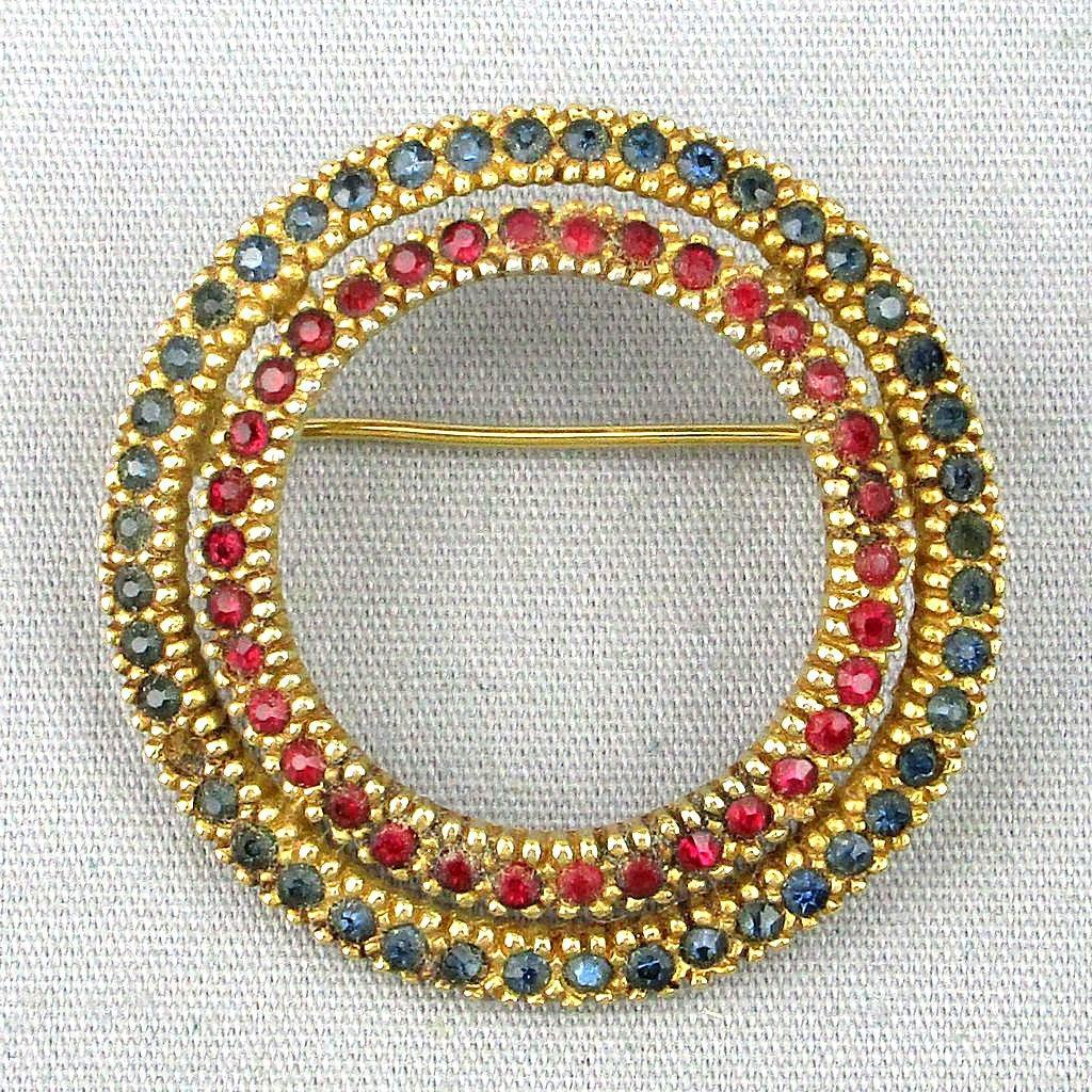 Vintage CINER Crystal Rhinestone Circle Pin Brooch