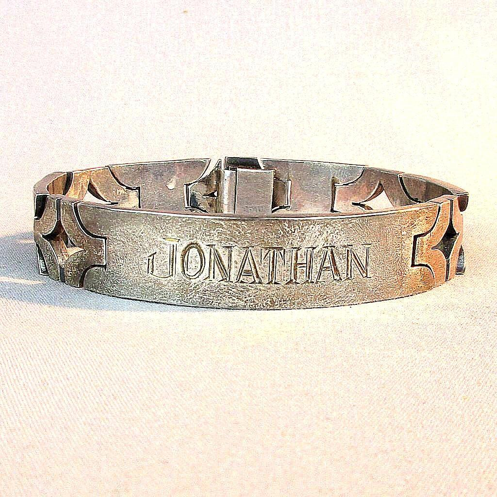 Modernist Heavy Taxco Sterling Silver I.D. Bracelet - Jonathan - 925 Mexico