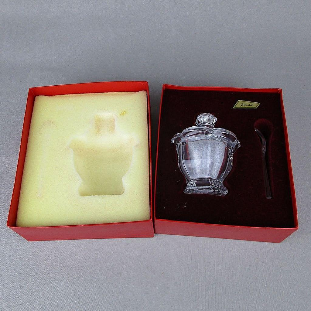 French Baccarat Crystal Sugar Jam Bowl w/ Spoon Unused in Box