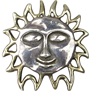 Big 925 Sterling Silver SUN Face Pin Pendant