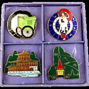 Vintage 4 Japanese Enamel Pins Kyoto Prefecture Boxed Set