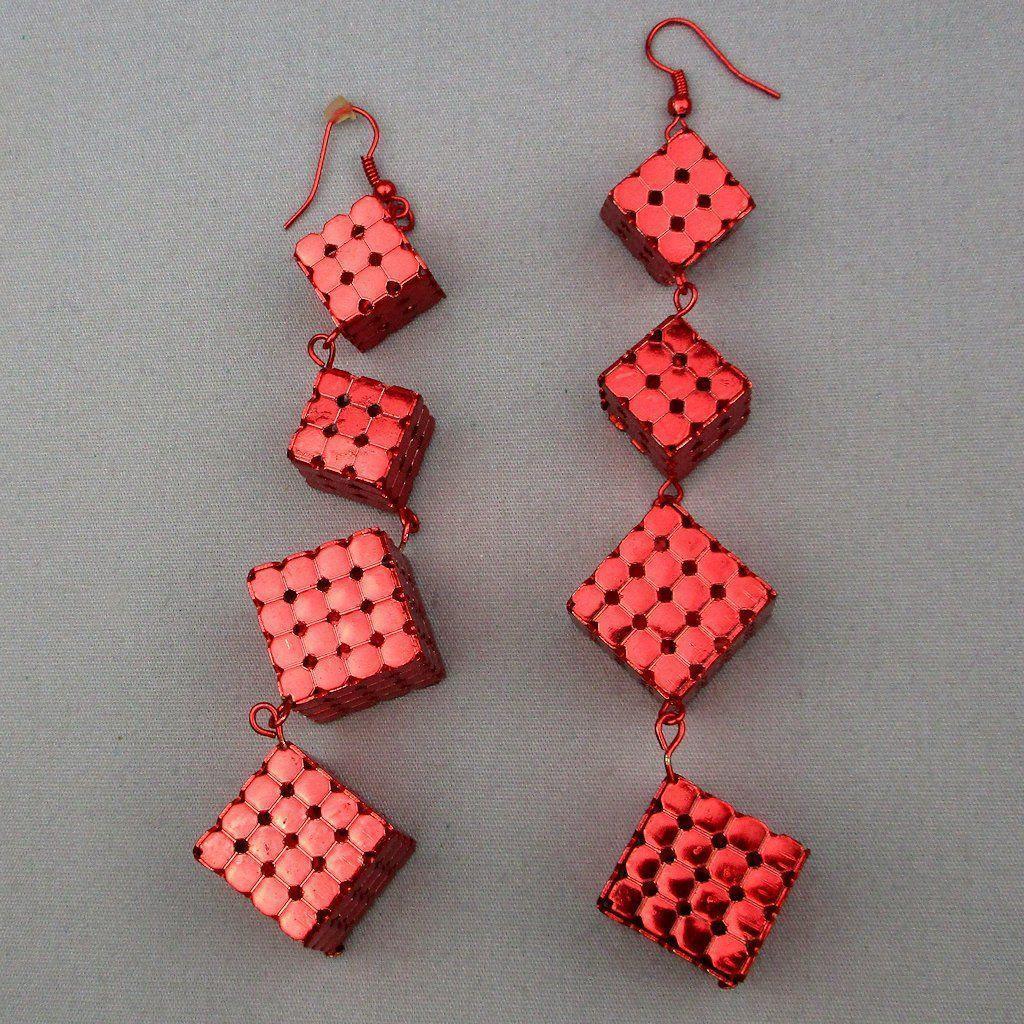 Vintage 1970s Red Cube Dangle Earrings - Metallic 5-Inch Marvels