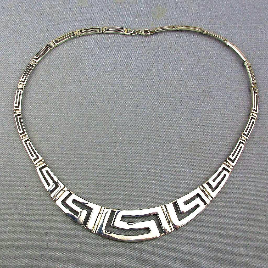 Designer Signed Sterling Silver Necklace - Classic Greek Key Design