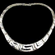 Designer Signed Sterling Silver Necklace - Classic Greek Key Design