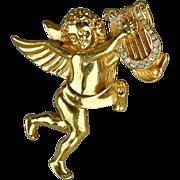 Vintage Signed Givenchy Angel Pin - Cherub Playing Rhinestone Harp