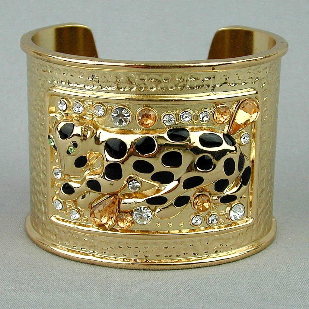 Vintage Lilly Pulitzer Bold Cuff Bracelet Leopard w/ Rhinestones 2 Inches Wide