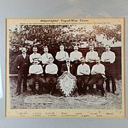Victorian 1911 Framed Photo SHIPWRIGHTS Tug-of-War Team Winners Chatham Dockyards