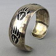 Vintage Navajo Sterling Silver Cuff Bracelet - B. Webb Bear Claw