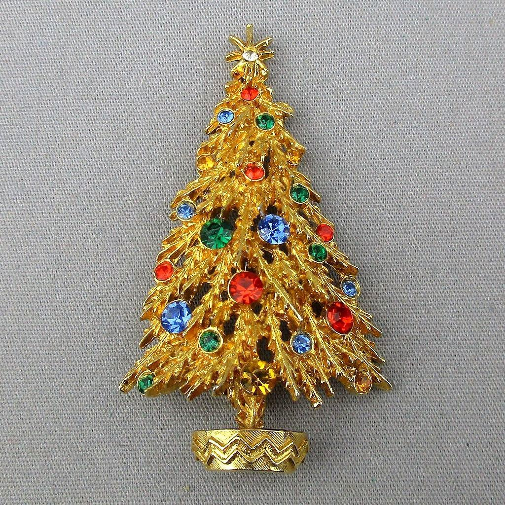 Vintage Signed ART Christmas Tree Pin Brooch Rhinestones