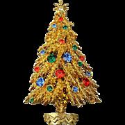Vintage Signed ART Christmas Tree Pin Brooch Rhinestones