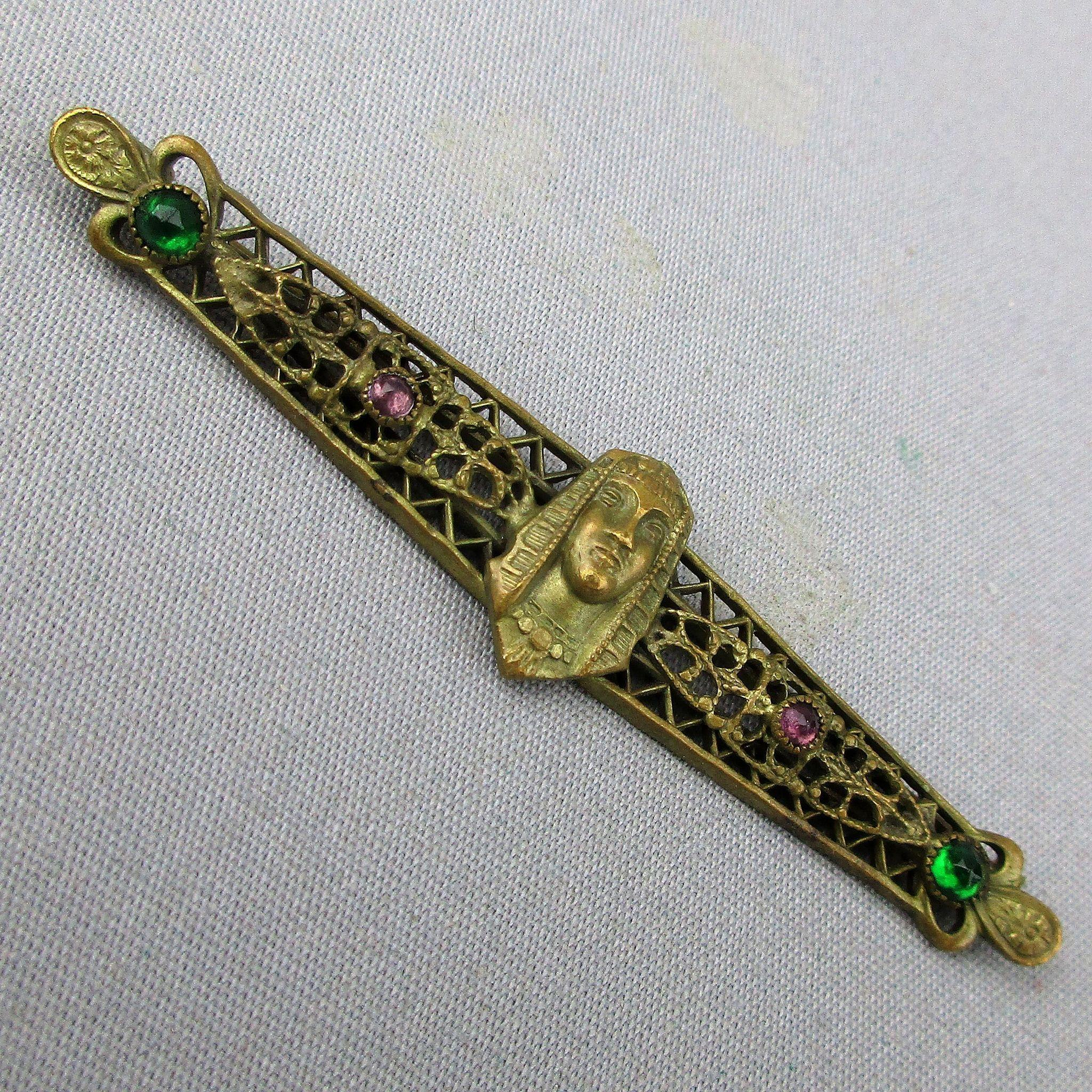 Old 1920s Egyptian Face Revival Collar Bar Pin w/ Rhinestones