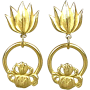 Big Bold Rich Gold-Tone Dangle Earrings Diane von Furstenberg DVF