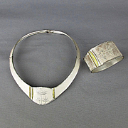 Vintage Sterling Silver Necklace Bracelet Set - Superb Minimalist Japanese Aesthetic