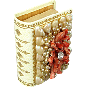 Vintage Leather Matchbox w/ Coral Shell Faux Pearls