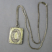 Art Deco Era Etched Sterling Silver Gilded Locket Pendant Necklace