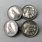 Old Sterling Silver MARS 1815 Napoleon Medal Cufflinks