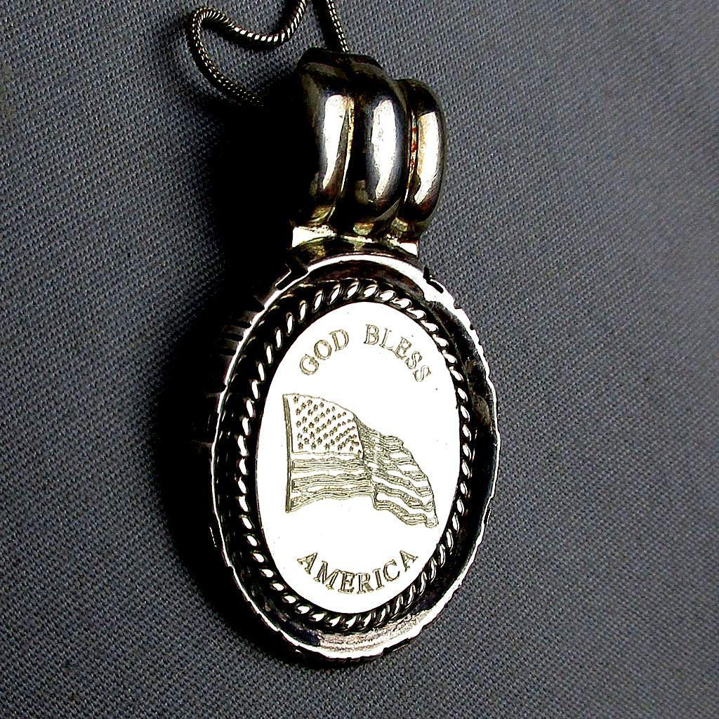 Vintage Sterling Silver Pendant Necklace ~ God Bless America ~ Flag