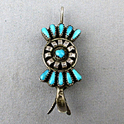 Old Zuni Needlepoint Turquoise Sterling Pin / Pendant