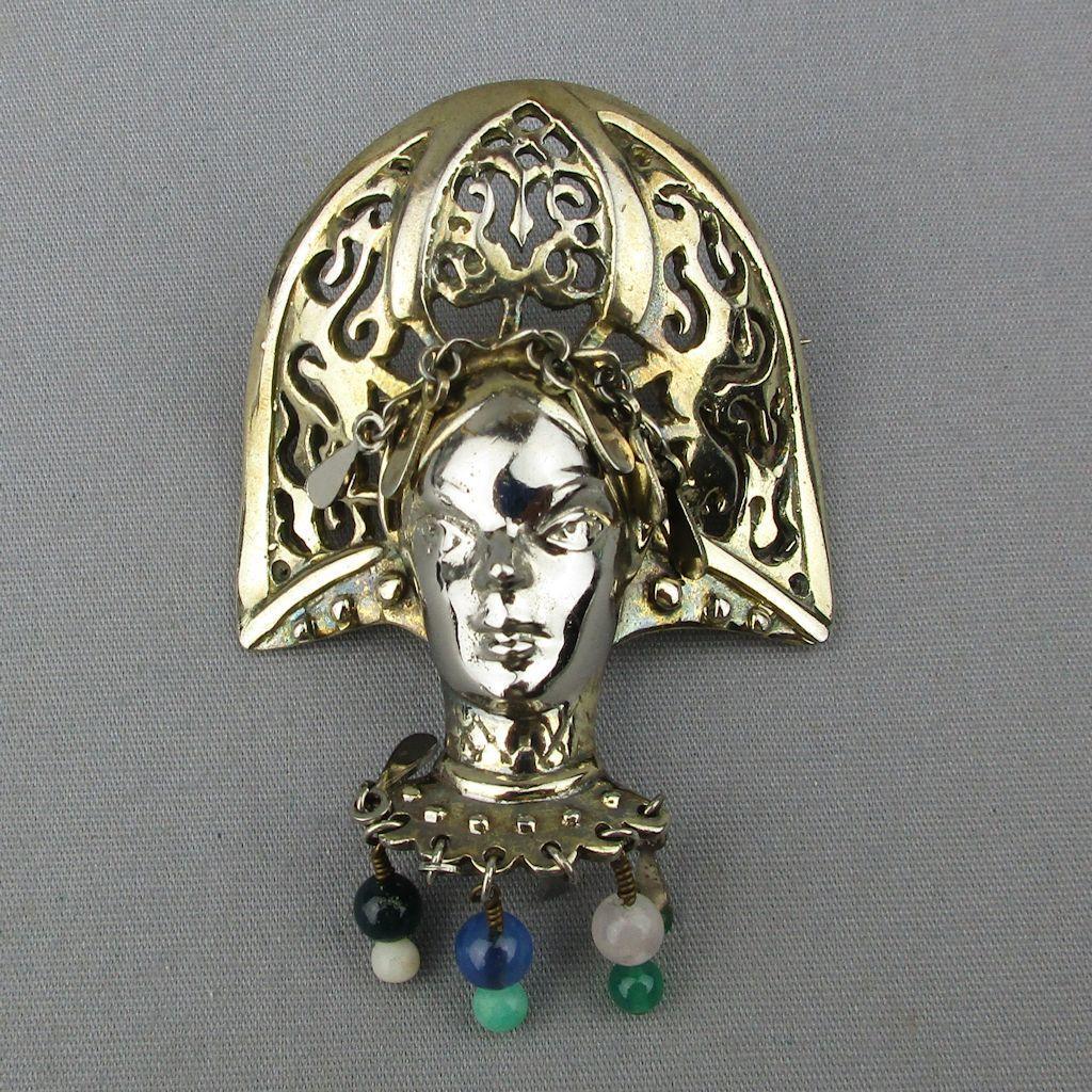 Vintage NATACHA BROOKS Sterling Silver Scheherazade Persian Queen Brooch Pin 925
