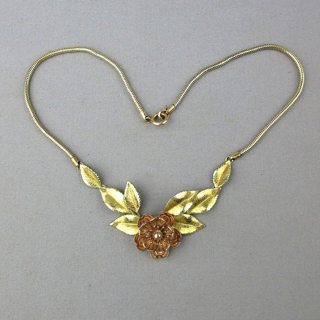 Vintage 1930s Krementz Gilt Flower Necklace Two-Tone Gold Overlay