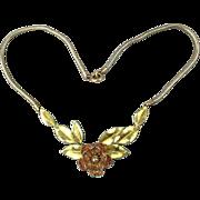 Vintage 1930s Krementz Gilt Flower Necklace Two-Tone Gold Overlay